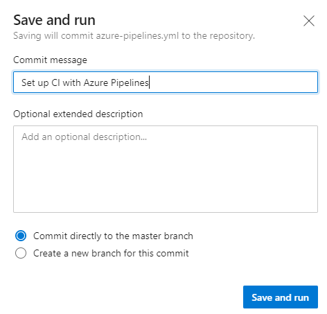Azure DevOps Create Pipeline Save and Run