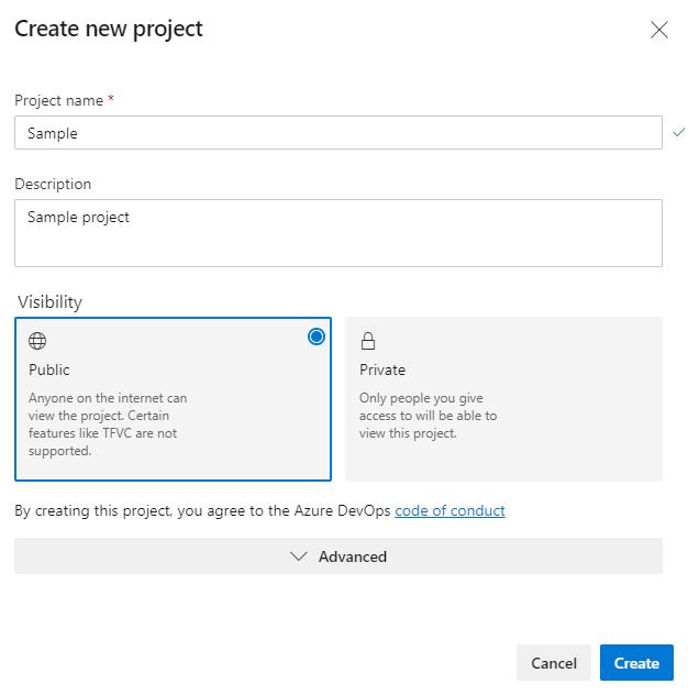 Azure DevOps Create Sample project