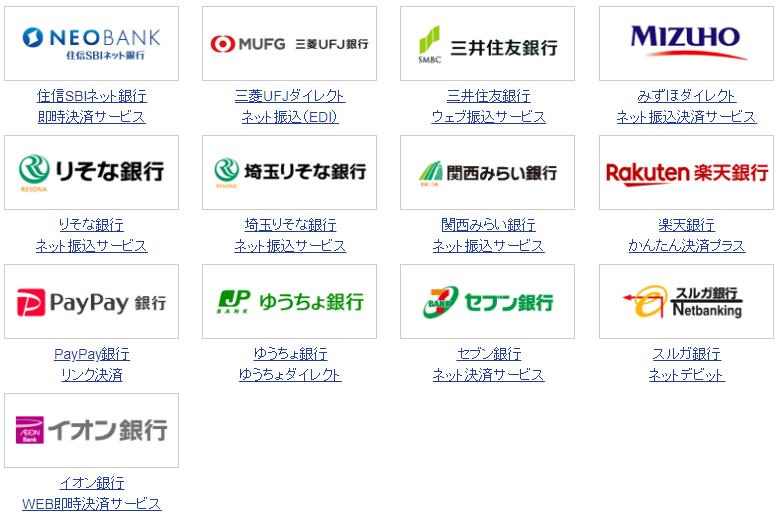 SBI証券 即時入金・振込手数料無料の銀行一覧