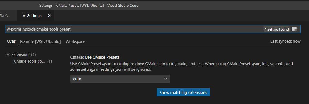 Visual Studio Code Extention: CMake Tools settings Use CMake Presets