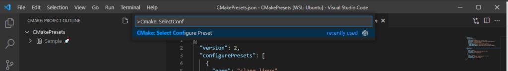 Visual Studio Code Extention: Cmake Tools: CMake: Select Configure Preset