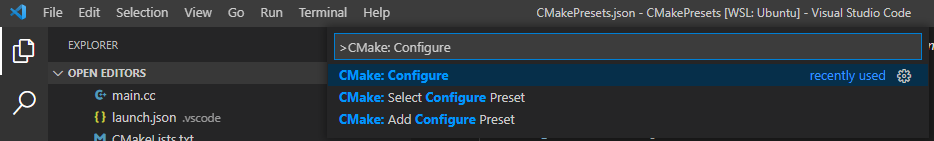 Visual Studio Code Extention: Cmake Tools: CMake: Configure