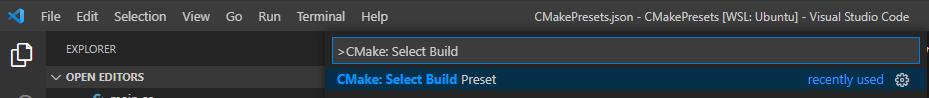 Visual Studio Code Extention: Cmake Tools: CMake: Select Build Preset