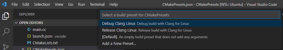 Visual Studio Code Extention: Cmake Tools: CMake: Select Debug or Release build