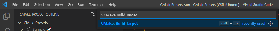 Visual Studio Code Extention: CMake Tools: CMake: Build Target