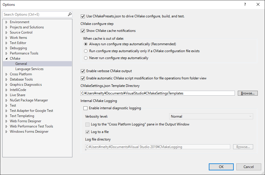 Visual Studio 2019 Preview 16.10.0 CMakePresets settings