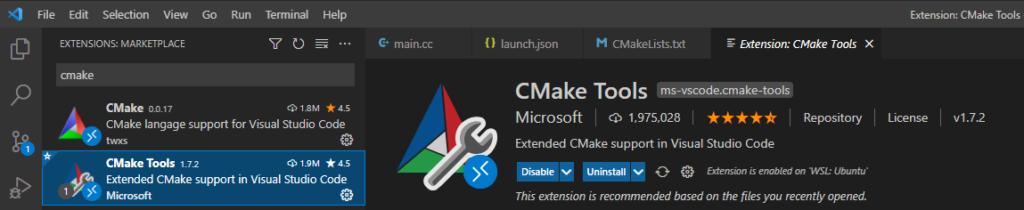 Visual Studio Code Extention CMake Tools 1.7.2