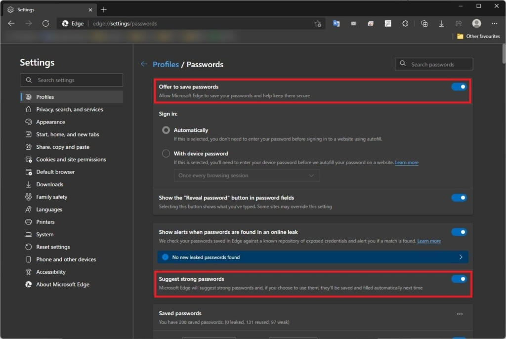 Windows Microsoft Edgeパスワード設定